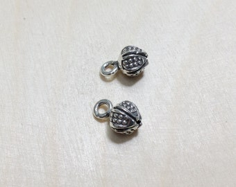 Sterling silver oxidized charm 2 pc // S*26