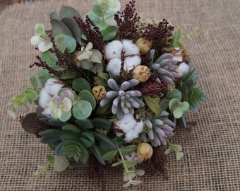 Dried flower bouquet Rustic wedding bouquet  Natural flower Artificial Succulent bouquet Rustic decor Farmhouse decor Indoor decor