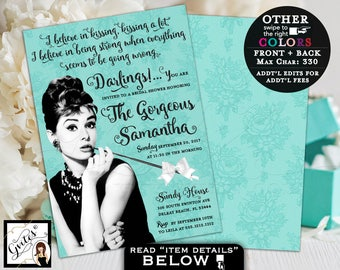Breakfast at Bridal Shower Invitation, custom Audrey Hepburn invites, turquoise blue white bow ribbon, 5x7 double sided. PRINTABLE