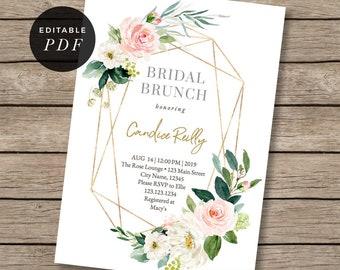 Greenery Bridal Brunch, Bridal Shower, invitation, garden, invites, boho,bohemian, floral,flower bouquet, geometric frame, gold, rustic