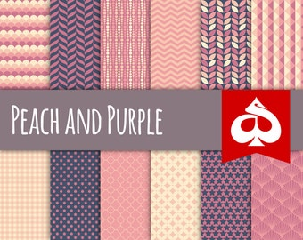Peach and Purple Digital Paper Pattern Clipart