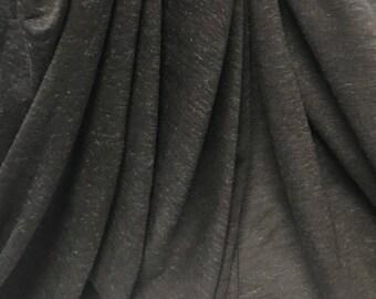 Linen Tencel Luxurious Japanese Knit Drapey Jersey fabric semi-sheer Medium Charcoal