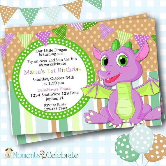 Dragon Birthday Party Invitation Dragon Birthday Invite