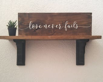 love never fails rustic wedding decor - 1 Corinthians 13 - Mother's Day gift for her