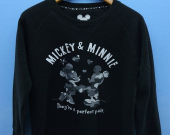Vintage Mickey Loves Minnie Sweatshirt Pull Over Crewneck Cartoon Sweater Size M