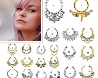 FREE SHIPPING Fake Septum Rings, Nose Ring Fake Septum Ring without piercing Septum Cuff, Septum Clip Nose Ring, BOHO Jewellry