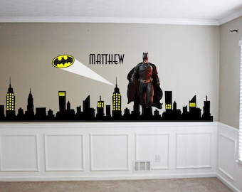 Gotham City Buildings With Batman   Emblem Vinyl Wall Decal Sticker   City  Night Skyline   Marvell   Kids Wall Decor