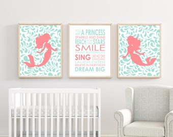 Mermaid Nursery Wall Art. Suits Mint and Coral Nursery Decor. Nursery Quote Dream Big Little One Quote. Baby Girl Bedroom Art. H255