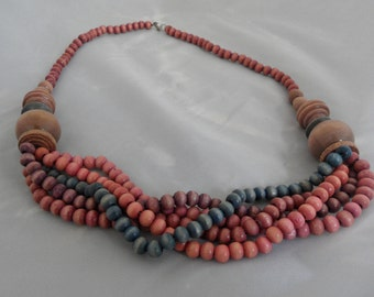 Dusty Rose Necklace Torsade Necklace Taupe Necklace Twisted Bead Necklace Mauve Necklace Wooden Bead Necklaces for Women 5 Strand Necklace