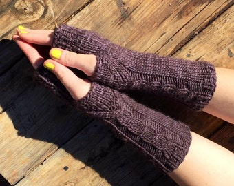 Grey fingerless gloves, gray cabled long gloves, fingerless mitts, arm warmers, Demelza mitt, celtic cables, long gloves,