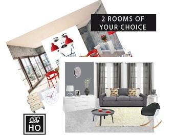 Special Offer: 2 rooms interior design full package service. Interior decorating, e-decorator, e-design service.