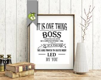 Boss appreciation day, Boss week, boss card, boss gift, thank you boss, mentor, leader, Typographic, Digital file, retirement leaving gift