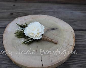 Sola Carnation Pine Boutonniere