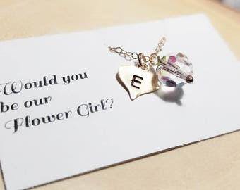 Would you be our Flower Girl... Personalized Initial, Swarovski Crystal, Gold Filled Necklace, Heart Charm, Wedding Gift