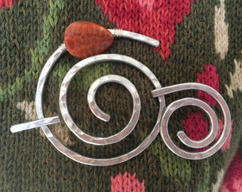 Shawl Pin Hammered Aluminum Spiral with Genuine Fire Agate