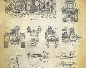 Vintage Farm Tractor Patent Art Print - International Harvester Farm Patent Print -Agricultural Patent - Farm Equipment Patent Print