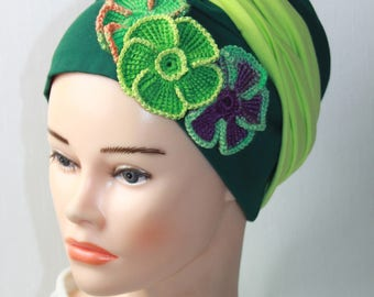 Pre-tied turban hat, LEYAH series, with hand-made crochet flowers