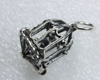 Sterling Silver Bird Cage Pendant