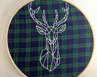 Geomertic deer - hand embroidery - 8 inch hoop