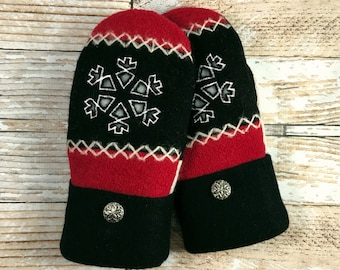 Sweater Mittens - Super Warm!  upcycled, felted wool and DOUBLE red black snowflake