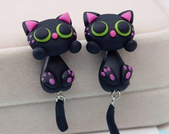 SALE!! - Black Cat Earrings Green Eyes Hand Made Polymer Clay 3D Black/Pink/Green Geek Gamer Gift her Woman Cute Girl Sale