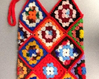 vintage crochet afghan bag 70s fashion bright colors shopping bag tote handmade