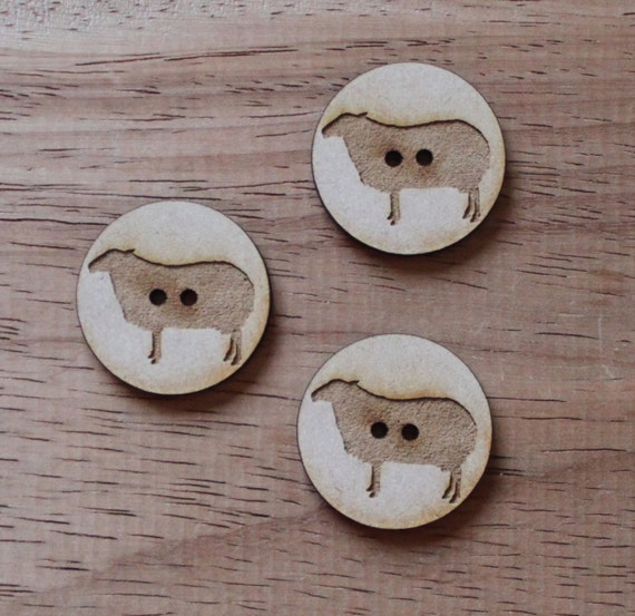 3 Craft Wood Sheep Farmyard.Round Buttons, 3 cm Wide, Laser Cut Wood