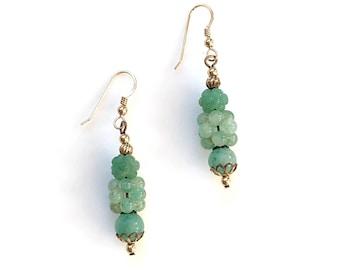 Handmade Green Jade Cluster Dangle, Earrings, Vintage, Gift for Her