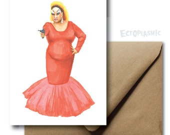 Greeting Card Love Valentines Day Divine John Waters Pink Flamingos Hand Drawn Marker Illustration