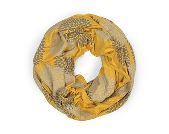 INFINITY SCARF - Gray Double Flowers on Mustard