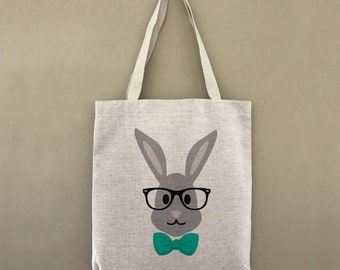 Bulk easter baskets etsy custom tote bag easter hipster bunny customizable personalized gift for her gift for him shopping bulk negle Images
