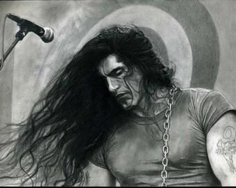 Peter Steele Realistic Pencil Portrait Print
