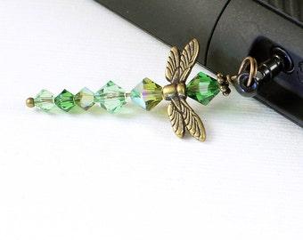 Crystal Dragonfly Charm - Dust Plug charm, Gold Wings, Olive Green, Fern Green, Peridot Crystal Beads, Phone Charm
