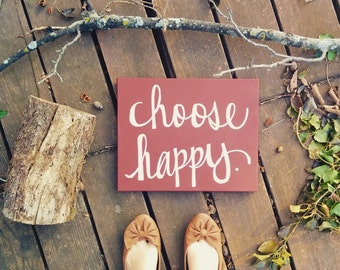 Choose Happy Inspirational Wall Art Motivational Home Decor Wall Hanging Wall Decor Office Sign Canvas Painting Marsala Custom Art Signage