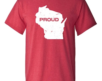 Wisconsin State Proud Adult Mens T-shirt