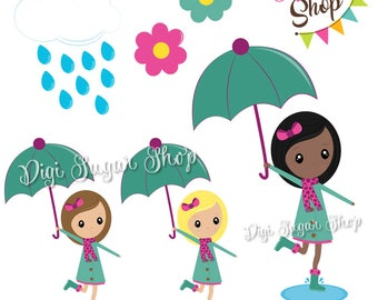 Rainy Day Girls - PNG - Instant Download