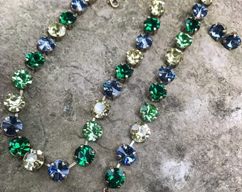 11mm blue green Swarovski set