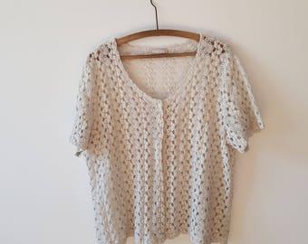 Vest / Crochet / lace / woman / vintage / white / DAXON