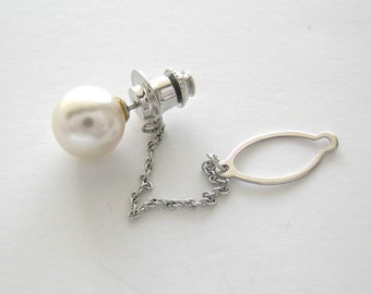 Vintage Pearl Tie Pin/Tack Or Lapel Pin 10.00 MM Cultured Circa 1960