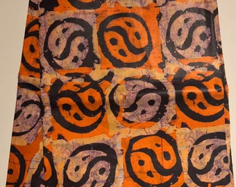 African print fabric, Orange Batik, African Wax Print, Tribal, African Ankara, African Material, sold by the yard