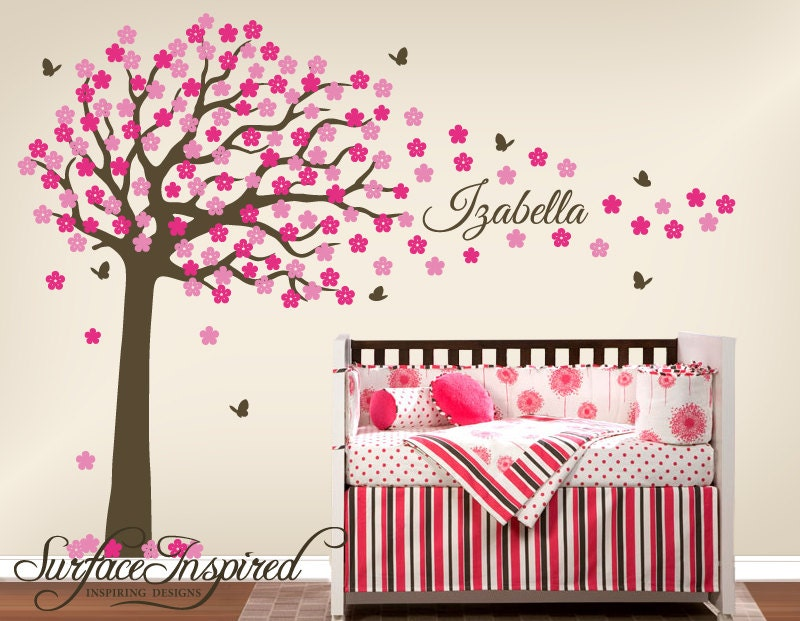 Nursery Wall Decals. Large cherry blossom tree wall decal with
