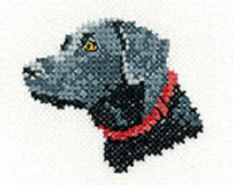 Black Labrador Cross Stitch Kit from Heritage Craft Little Friends on 14ct Aida, needlework kit, cross stitch, counted cross stitch kit, dog
