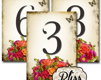 BLISS Wedding Table Number, 5x7, Printable, Weddings, Parties, Bridal Shower, Baby Shower, Seating Numbers, wedding decoration