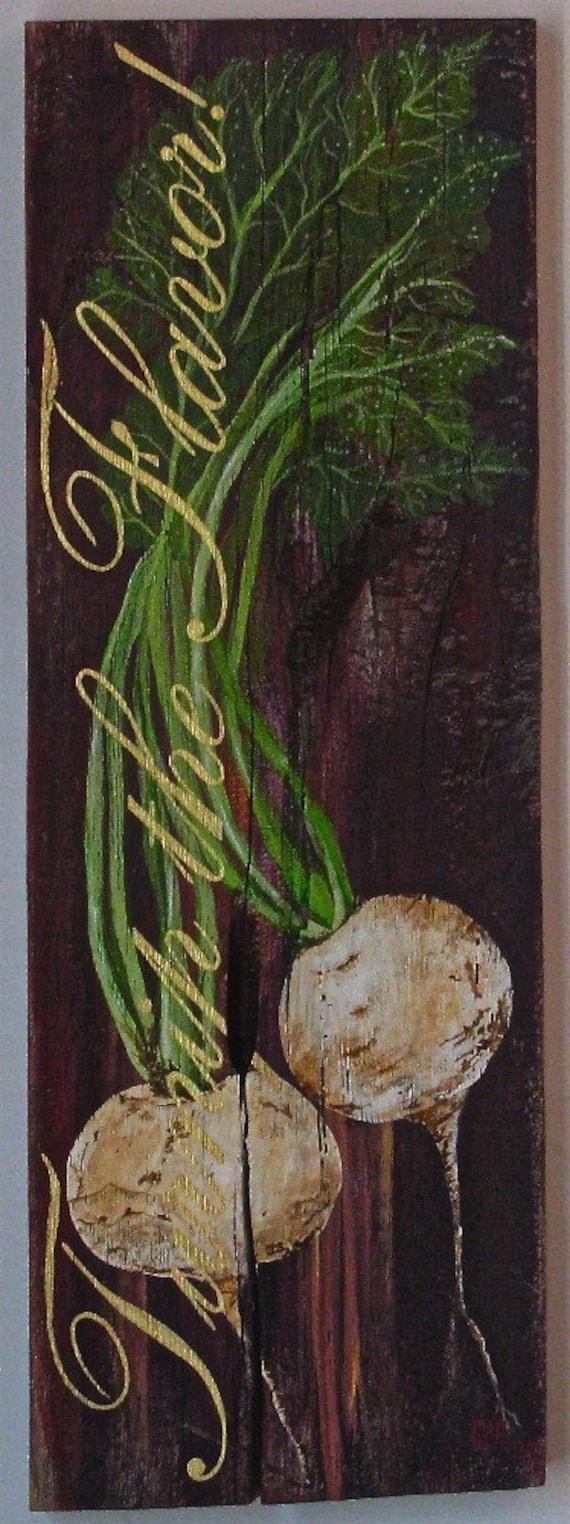 Vegatable original acrylic painting Turnip the Flavor