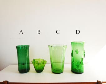 4 large vases made of glass blown Italian Empoli 1950