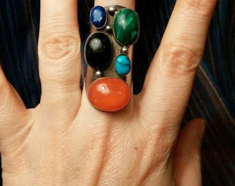 Chunky Black Onyx, Malachite, Coral, Turquoise and Lapis Sterling Ring Mexico Size 6.5
