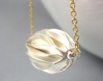 Silver Seed Pod Necklace, Gold Filled Chain, Organic Jewelry Silver, Michelia Flower