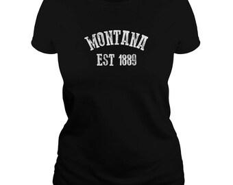 Montana T Shirt - Montana State T-shirt - Montana Est 1889 Tshirt - Cotton - 5 Colors - Small-3XL - Montana Gift - Billings MT - Montana tee