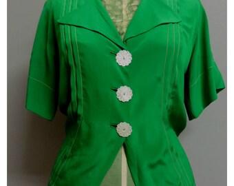 Vintage 1960s green silk blouse Small/Medium