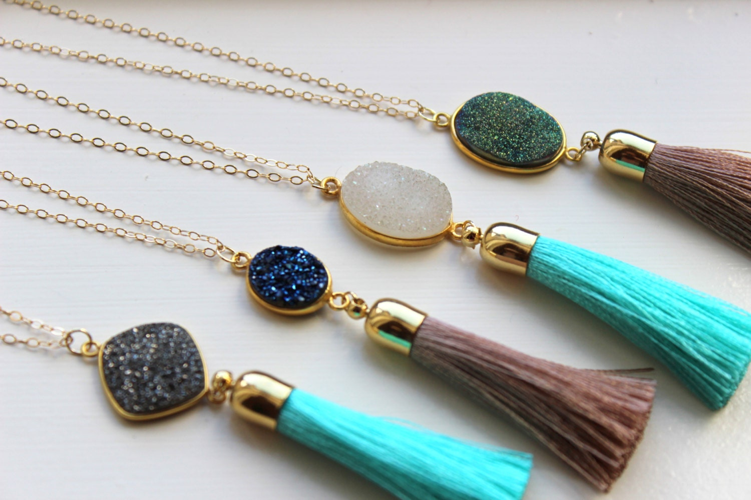 Excellent Gold Tassel Necklace Druzy Necklace Fringe Necklace Tassel MA75